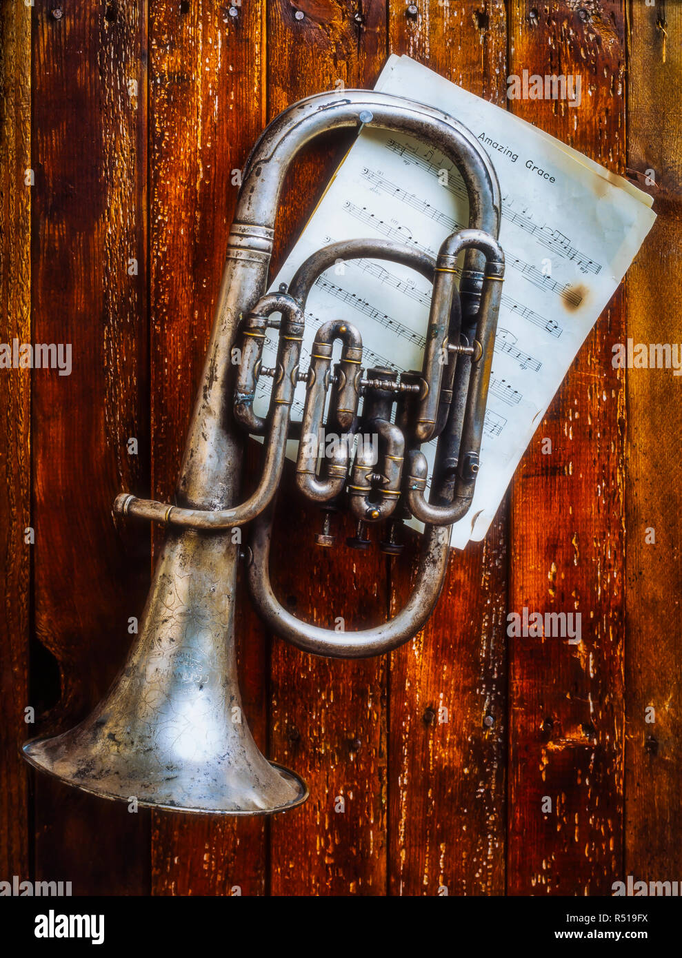 Weathered Flugel Horn Stock Photo