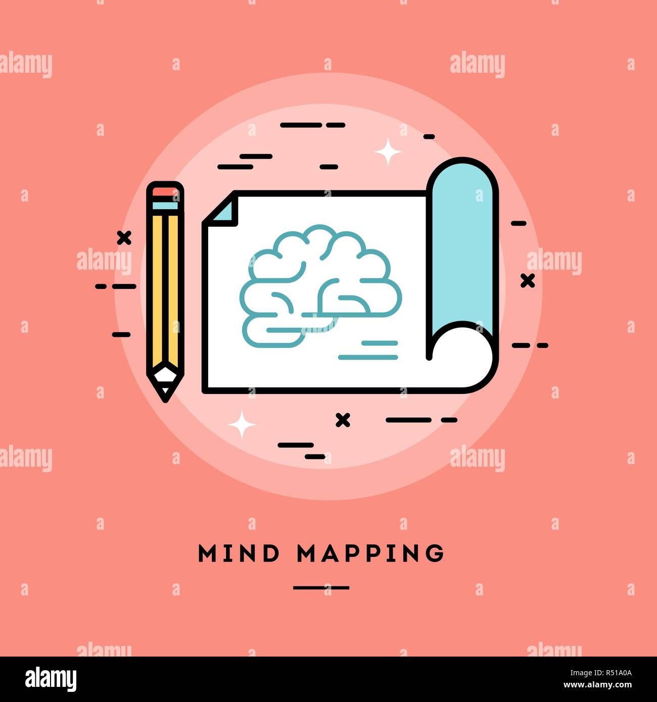 Mind mapping, flat design thin line banner - Stock Vector