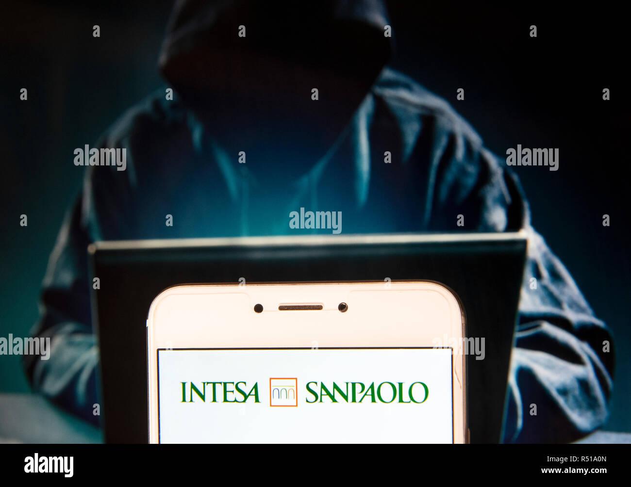 Italian banking group Intesa Sanpaolo logo is seen on an