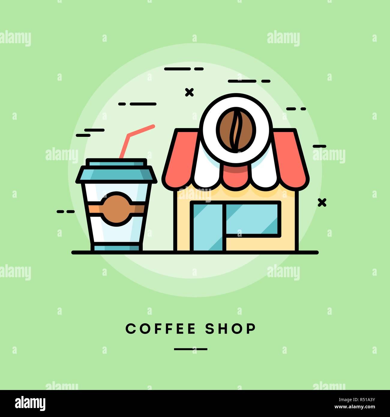 Coffee shop, flat design thin line banner - Stock Vector