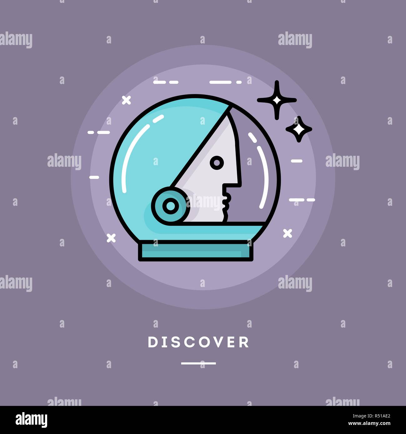 Discover, flat design thin line banner - Stock Vector