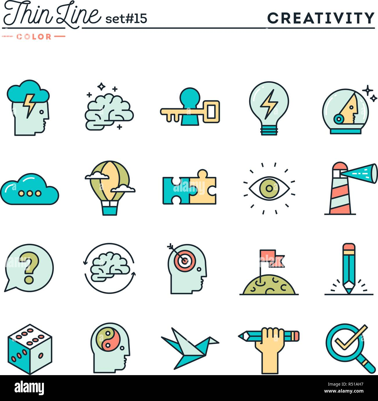 Creativity, imagination, problem solving, mind power and more, thin line color icons set - Stock Vector