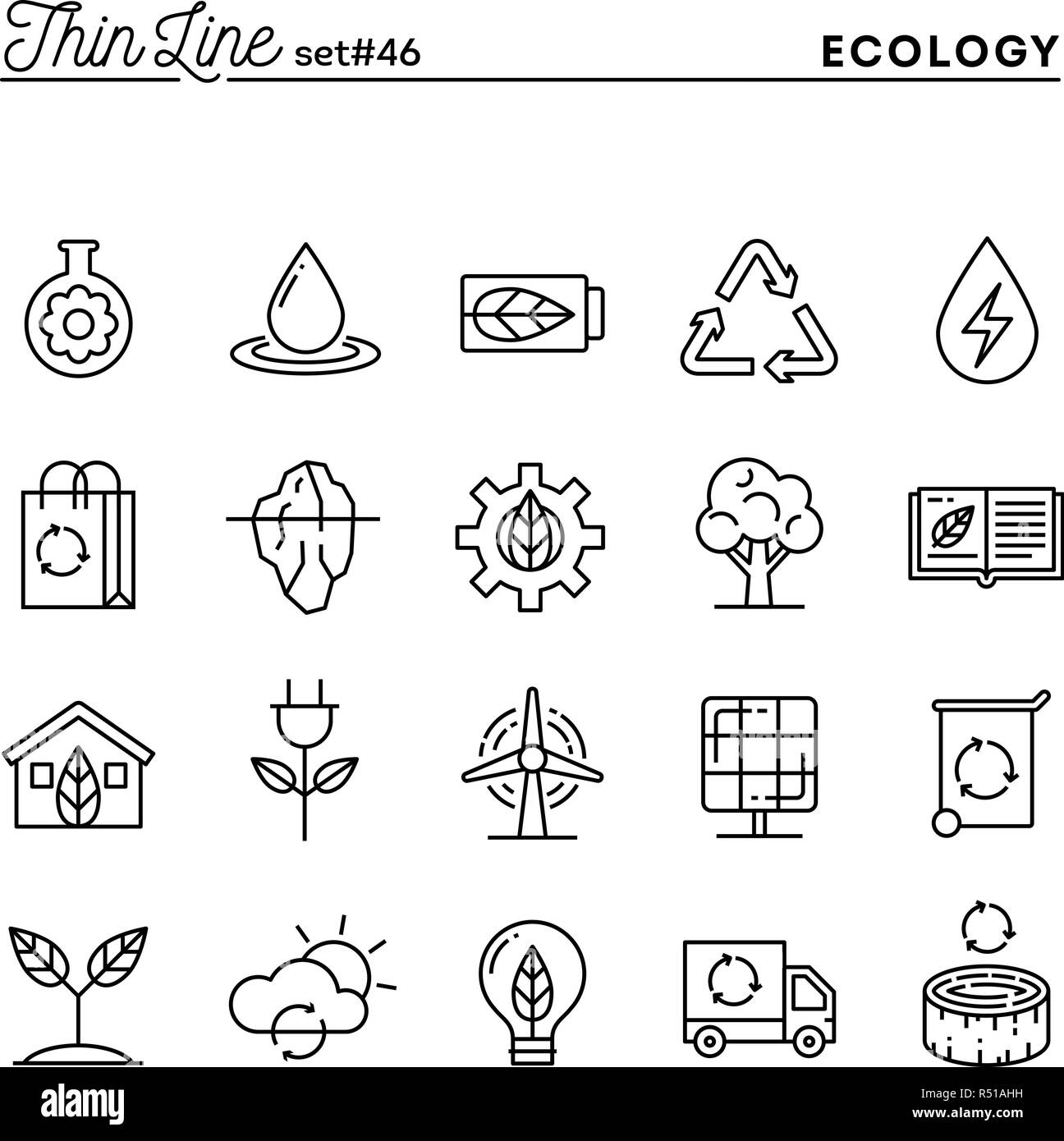 Ecology, nature, clean energy, recycling and more, thin line icons set - Stock Image