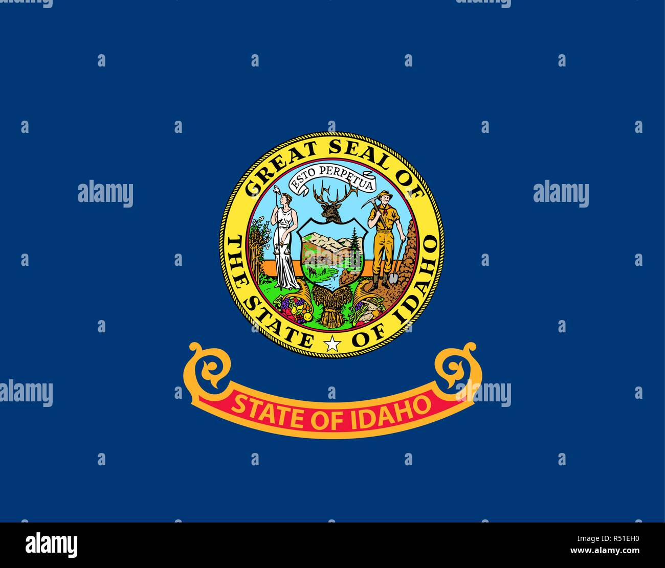 State of Idaho vector flag. Vector illustration. United States of America. - Stock Vector