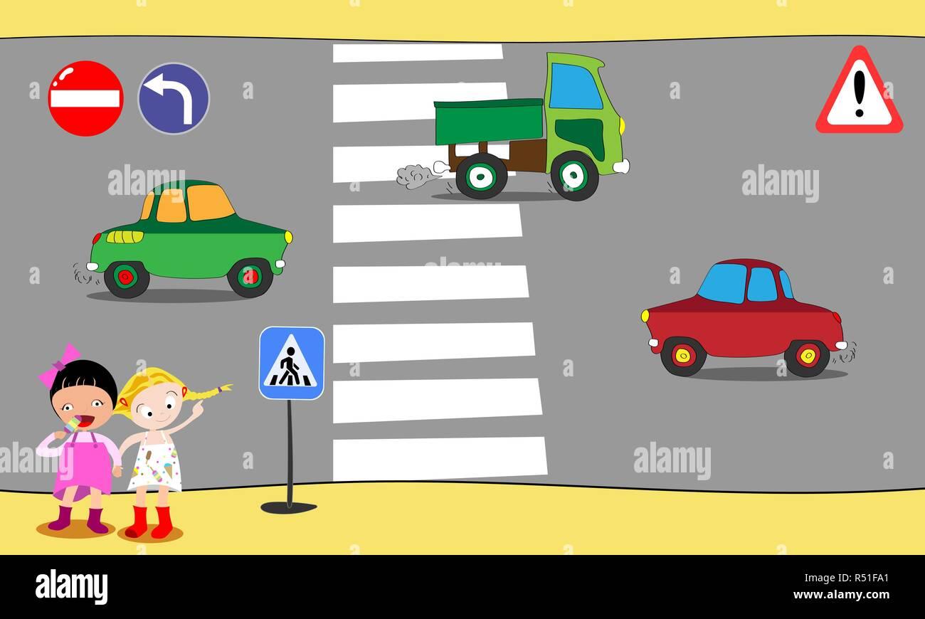Schoolchildren cross road on pedestrian crossing in downtown, near school. Vector illustration. - Stock Vector