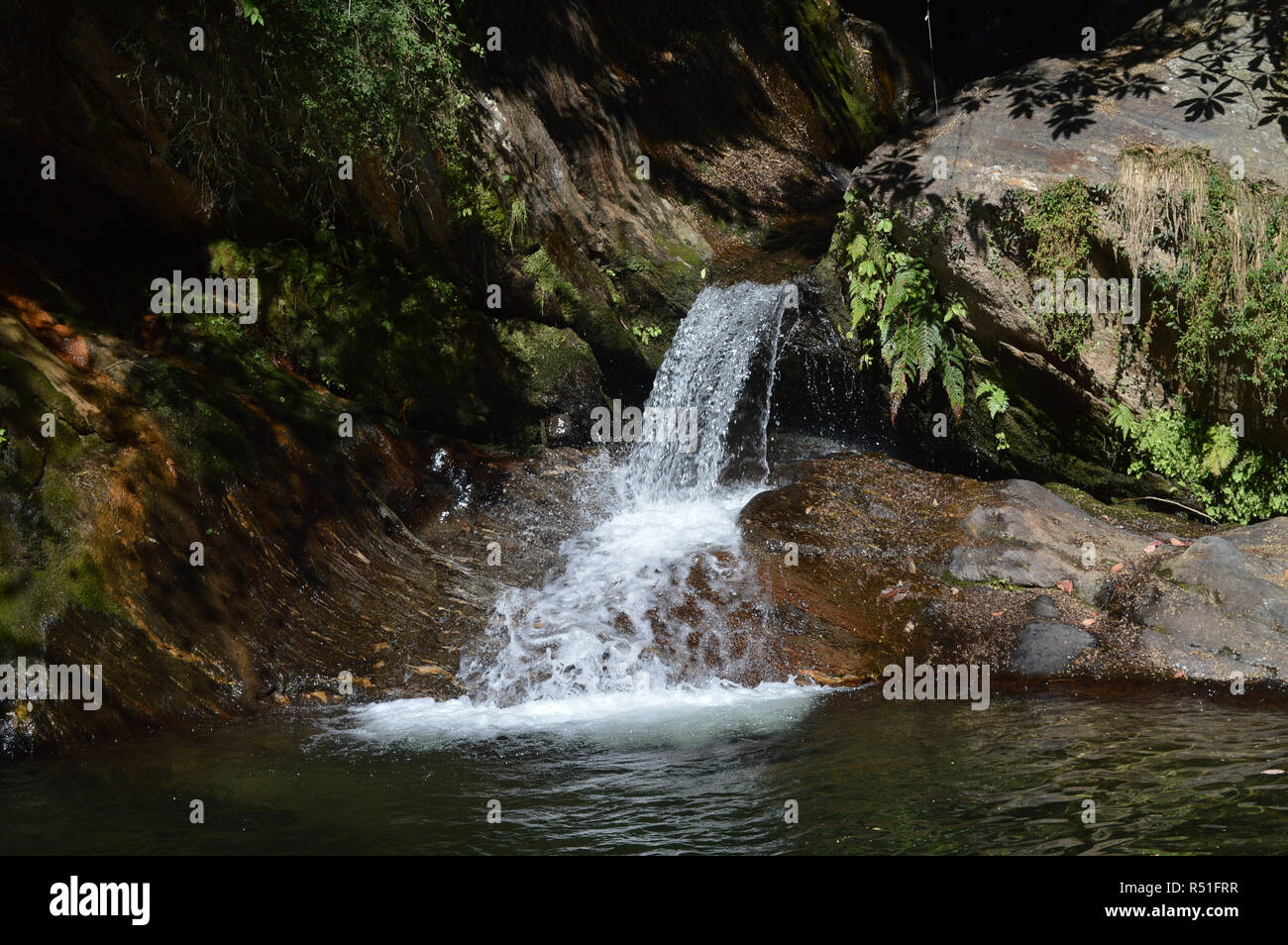 natural river falls, lakes , forests and eye catching landscapes in uttarakhand india gives calm and peace to soul. Stock Photo