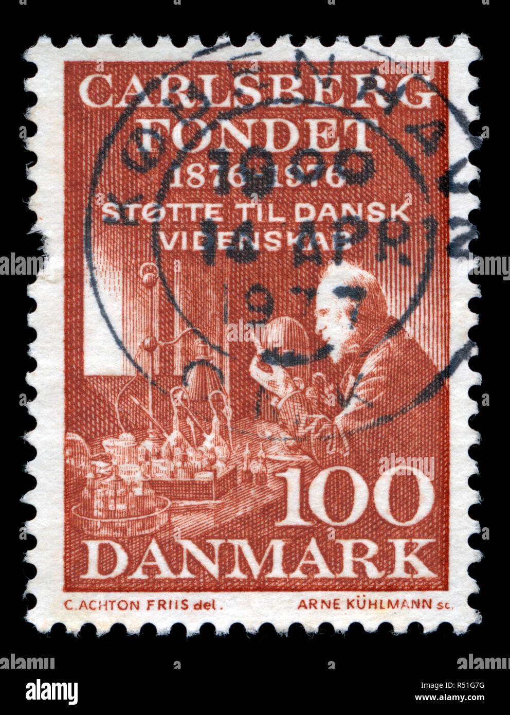 Postage stamp from Denmark in the Carlsberg Foundation - Centenary series issued in 1976 - Stock Image
