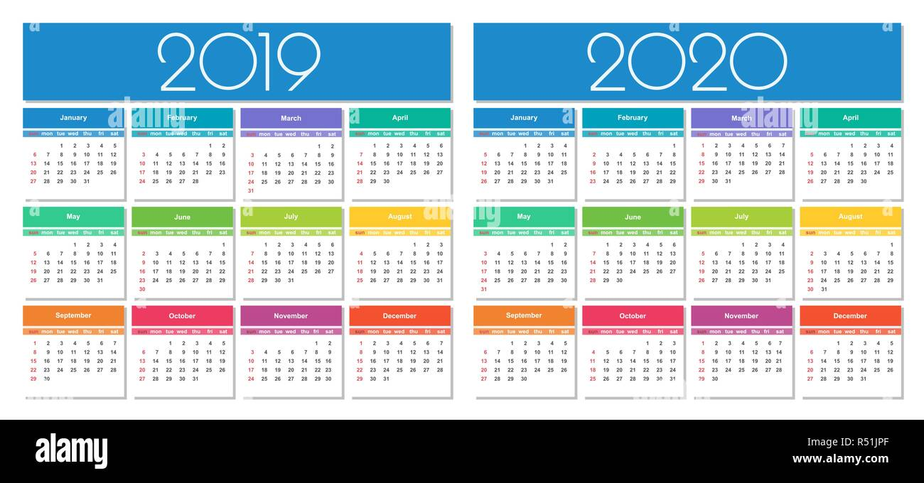 Template Calendrier 2019.Calendar 2019 And 2020 Year Colorful Set Simple Vector