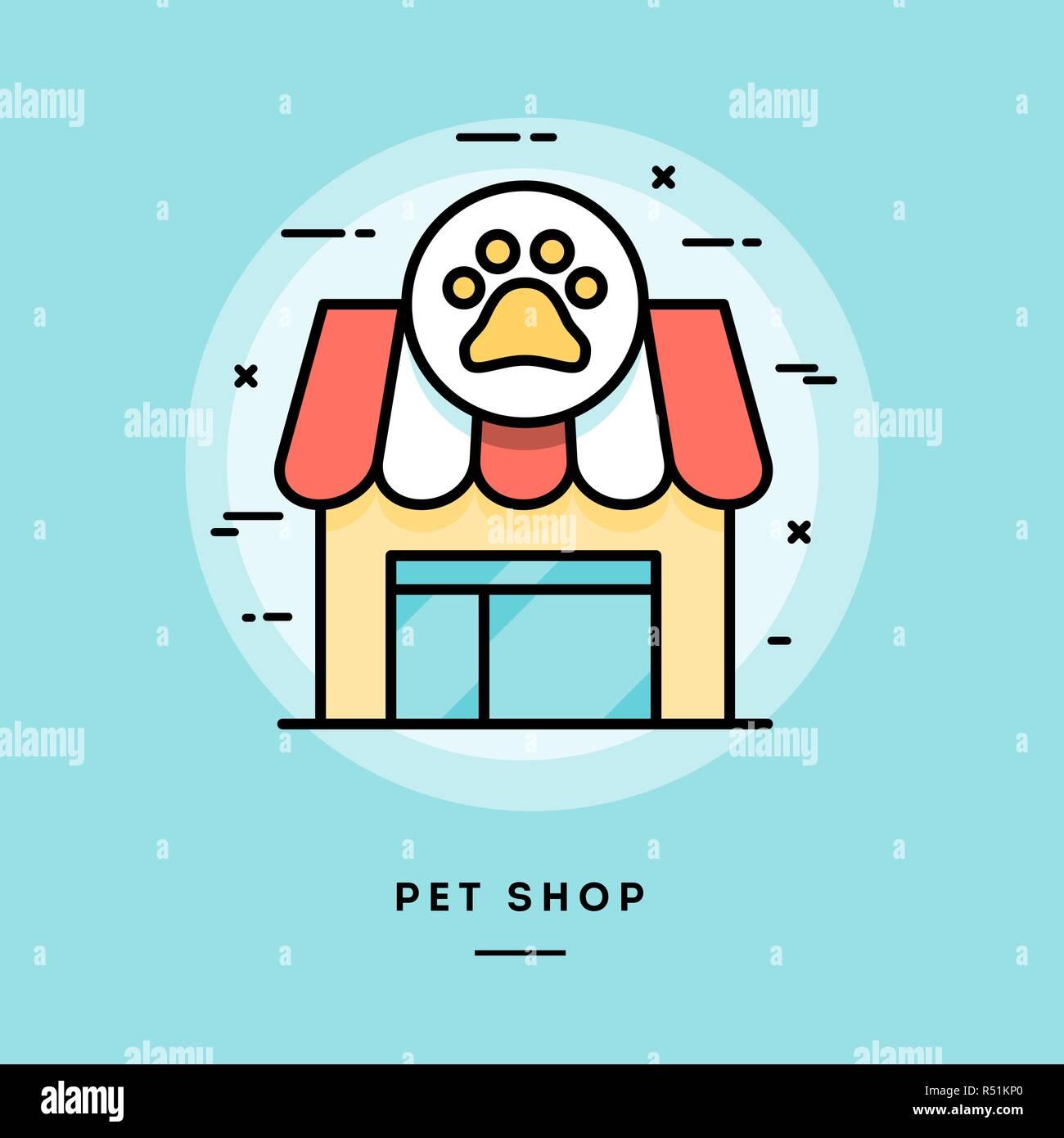 Pet shop, flat design thin line banner - Stock Vector