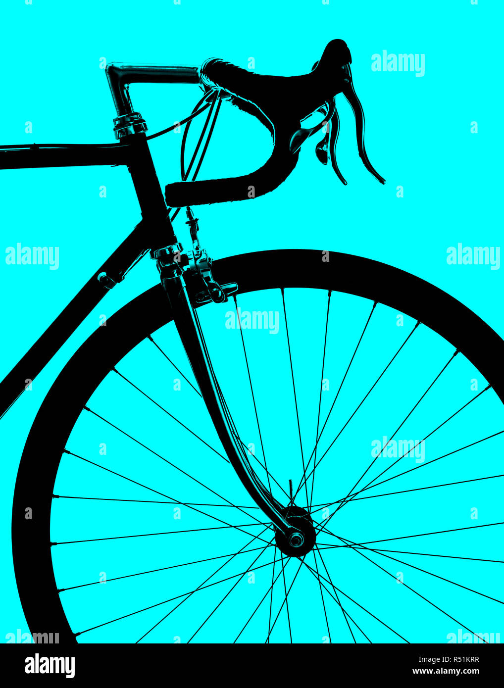 766b8bde746 Profile of a sports vintage road bike isolated on a blue background.  Conceptual background