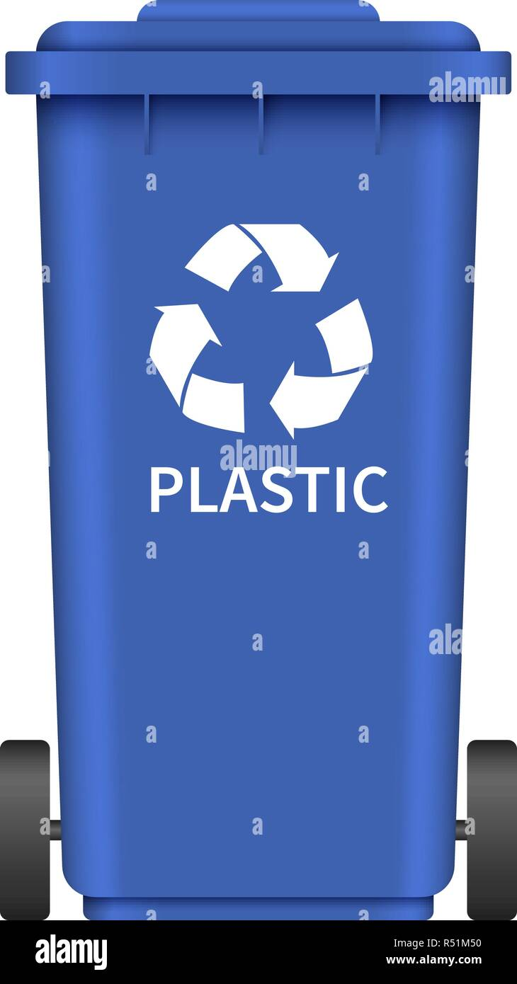 Plastic garbage wheel box mockup. Realistic illustration of plastic garbage wheel box vector mockup for web design isolated on white background - Stock Image