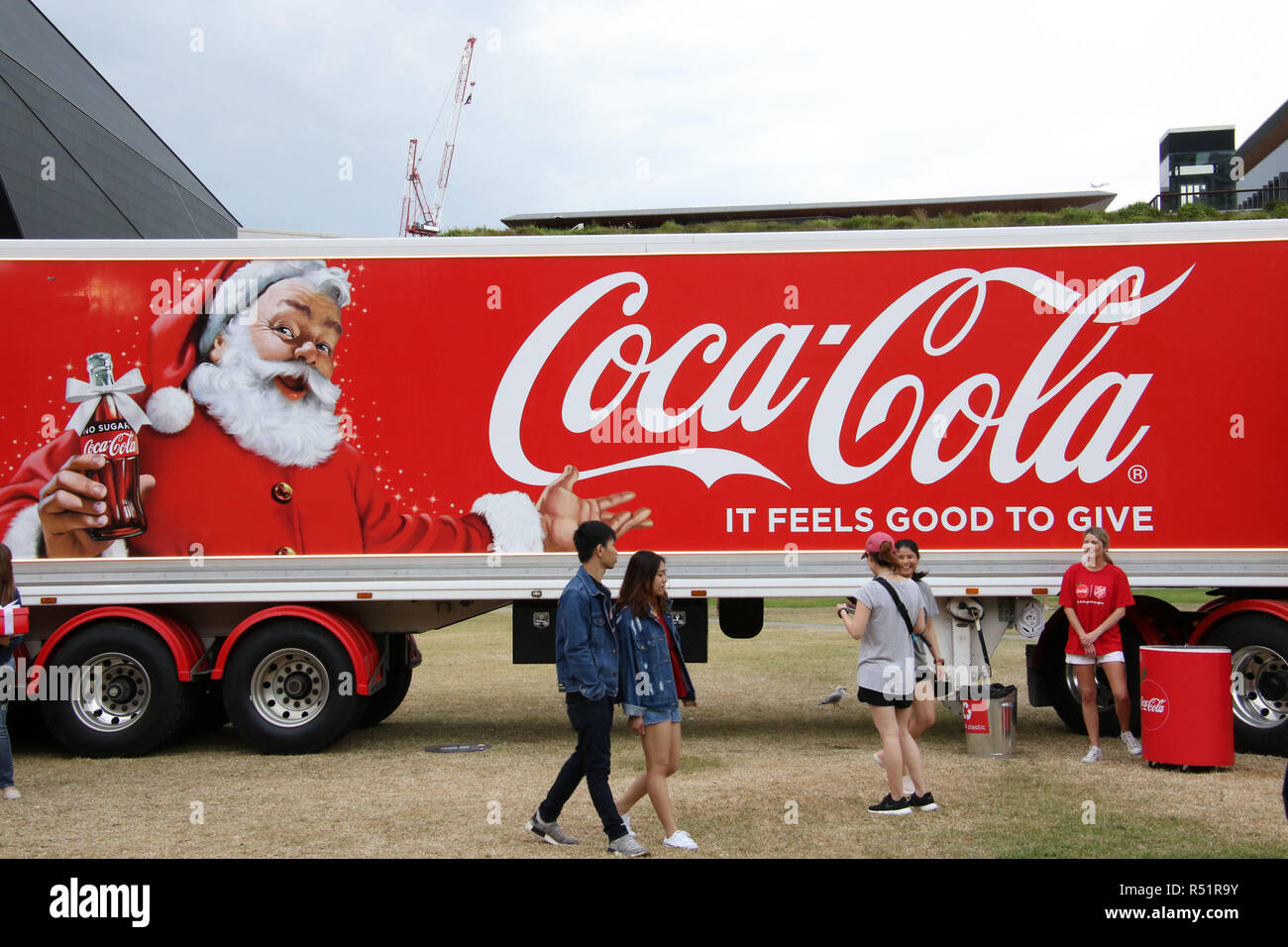 Coca Cola and Salvation Army truck at Tumbalong Park, Darling Harbour for the Coca Cola Christmas Tour launch. - Stock Image