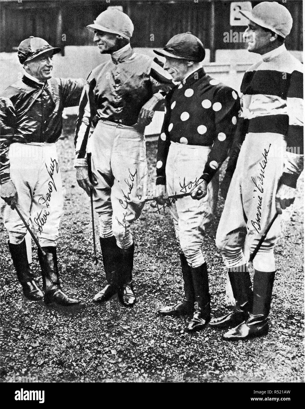 1934 an autographed photograph of four famous British Jockeys, Steve Donoghue, French born Joe Childs, (celebrating their 50th birthday on that day ) with Freddie Fox and Australian, Bernard 'Brownie' Carslake - Stock Image