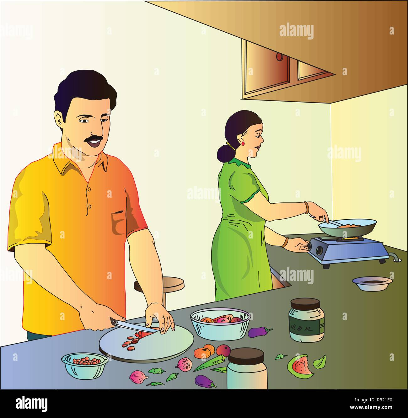 Man And Woman In Kitchen Stock Vector Image Art Alamy