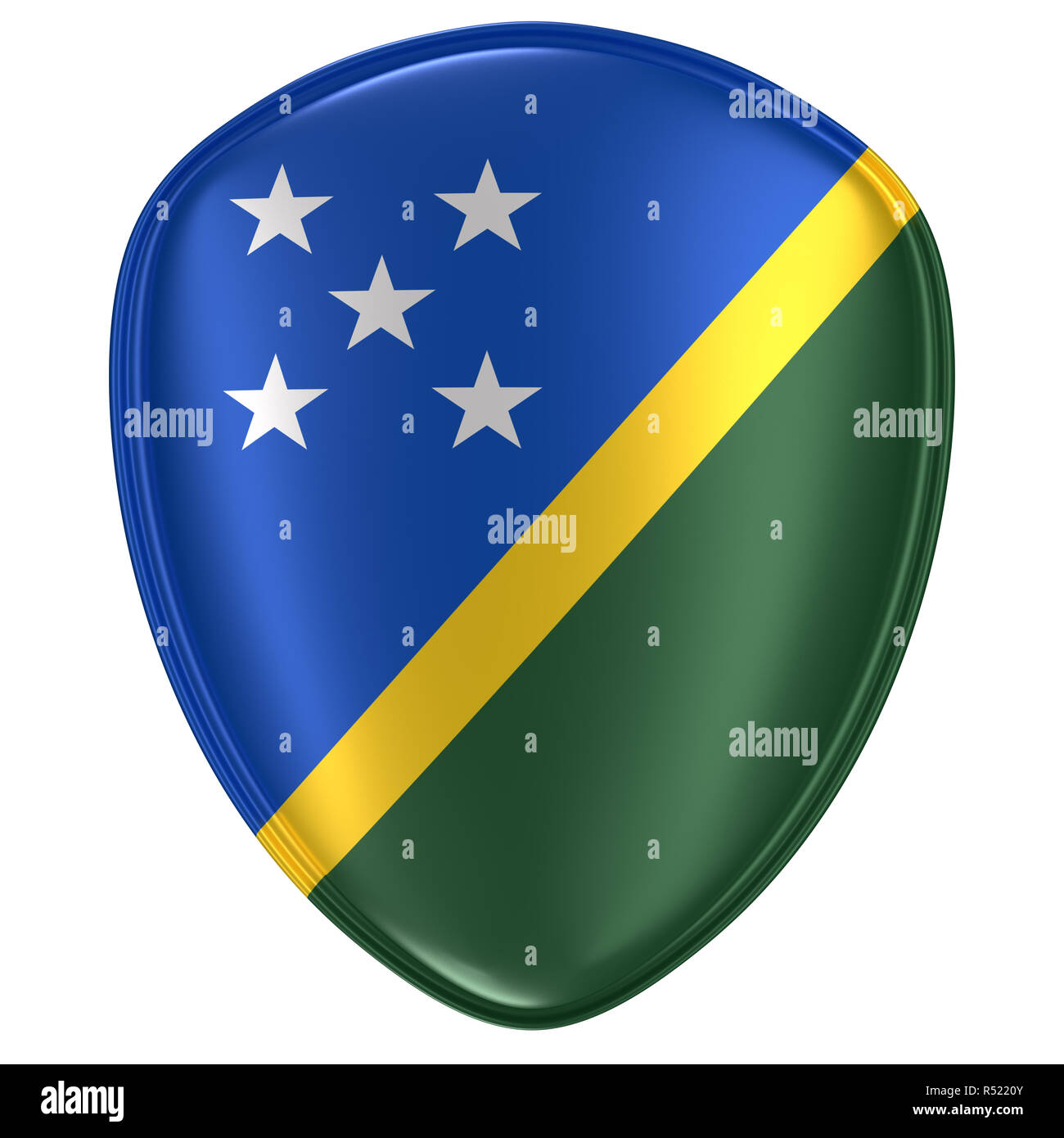 3d rendering of a Solomon Islands flag icon on white background. - Stock Image