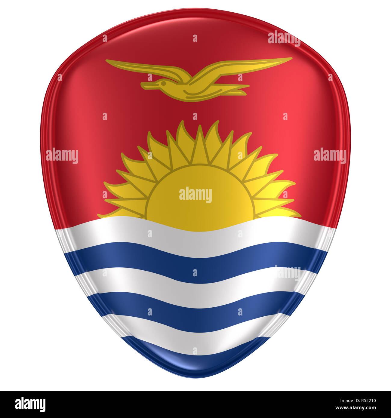 3d rendering of a Kiribati flag icon on white background. - Stock Image
