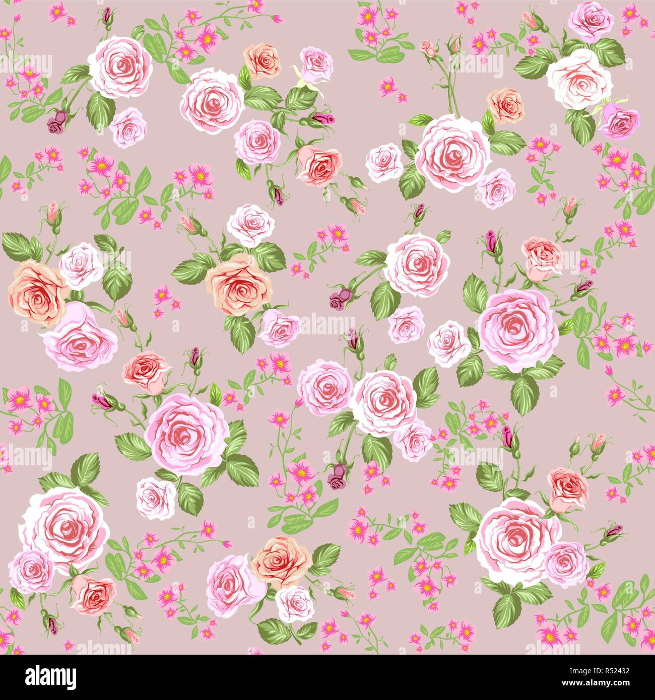 Floral Pattern Background With Pink Roses Repeating Vintage