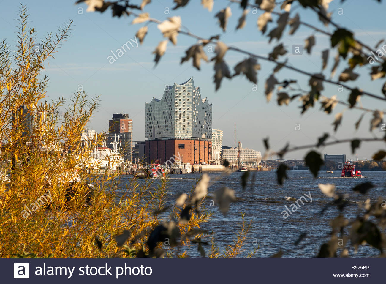 Hamburg, one of the most beautiful and most popular tourist destinations in the world. Elbphilharmony and harbour. - Stock Image