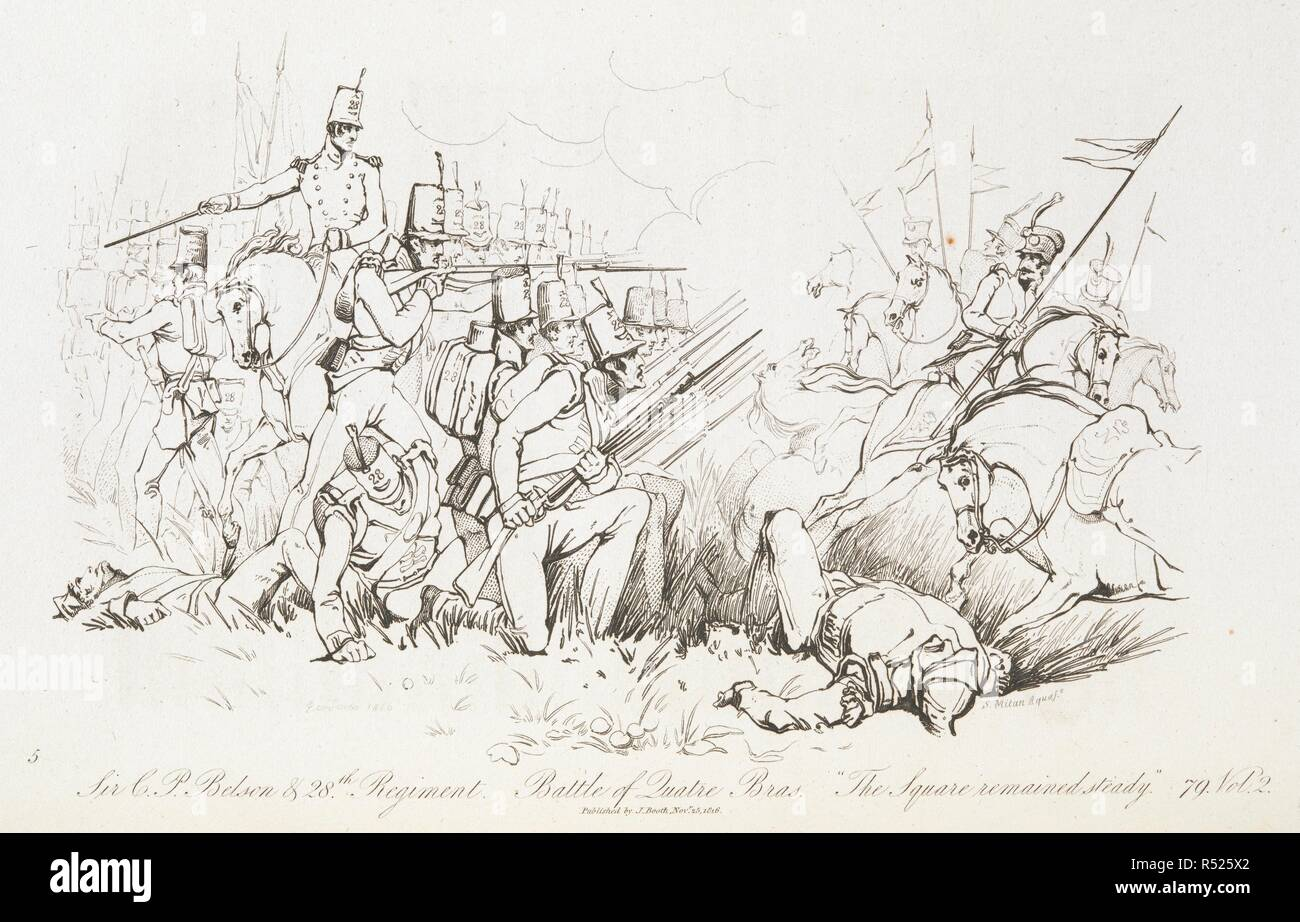 Battle of Quatre Bras. Sir T.Belson and 28th regt. 'the square remained steady'. The Battle of Waterloo, also of Ligny and Quatre-Bras described by ... a near observer ... [A narrative by C. A. Eaton, with a sketch by J. Waldie... from sketches by Captain G. Jones. 2 vol. John Booth; T. Egerton: London, 1817. Source: G.5651 part 2, plate opposite page 78. Author: Eaton, Charlotte Anne. Jones, Captain George. - Stock Image