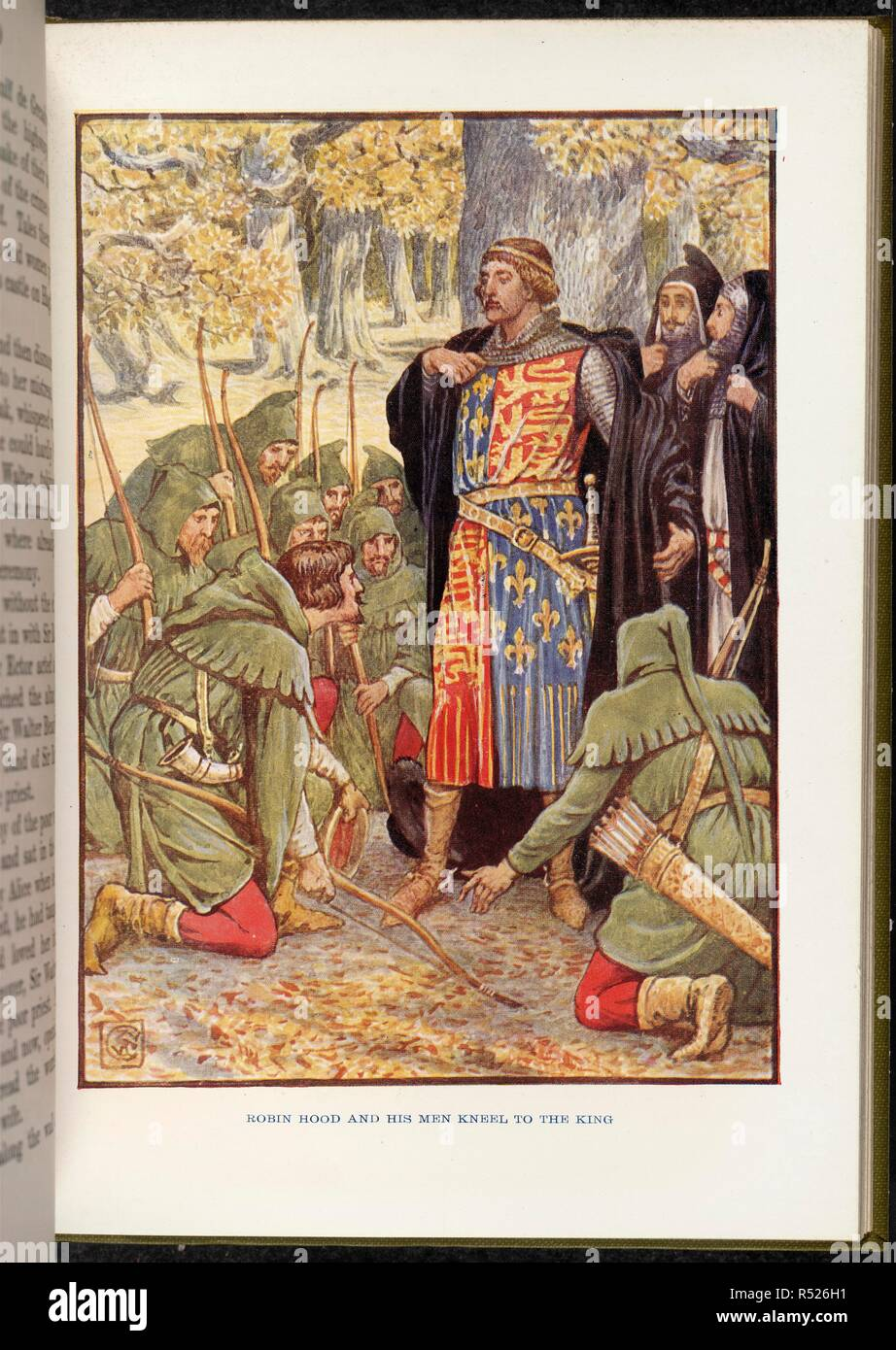 Robin Hood before Richard I. Robin Hood and his Merry Men ... With 8 illustrati. 1915. Robin Hood and his men kneel to the King (Richard I, the Lionheart).  Image taken from Robin Hood and his Merry Men With 8 illustrations in colour by Walter Crane.  Originally published/produced in 1915. . Source: 12827.h.1/3, opposite 96. Language: English. - Stock Image