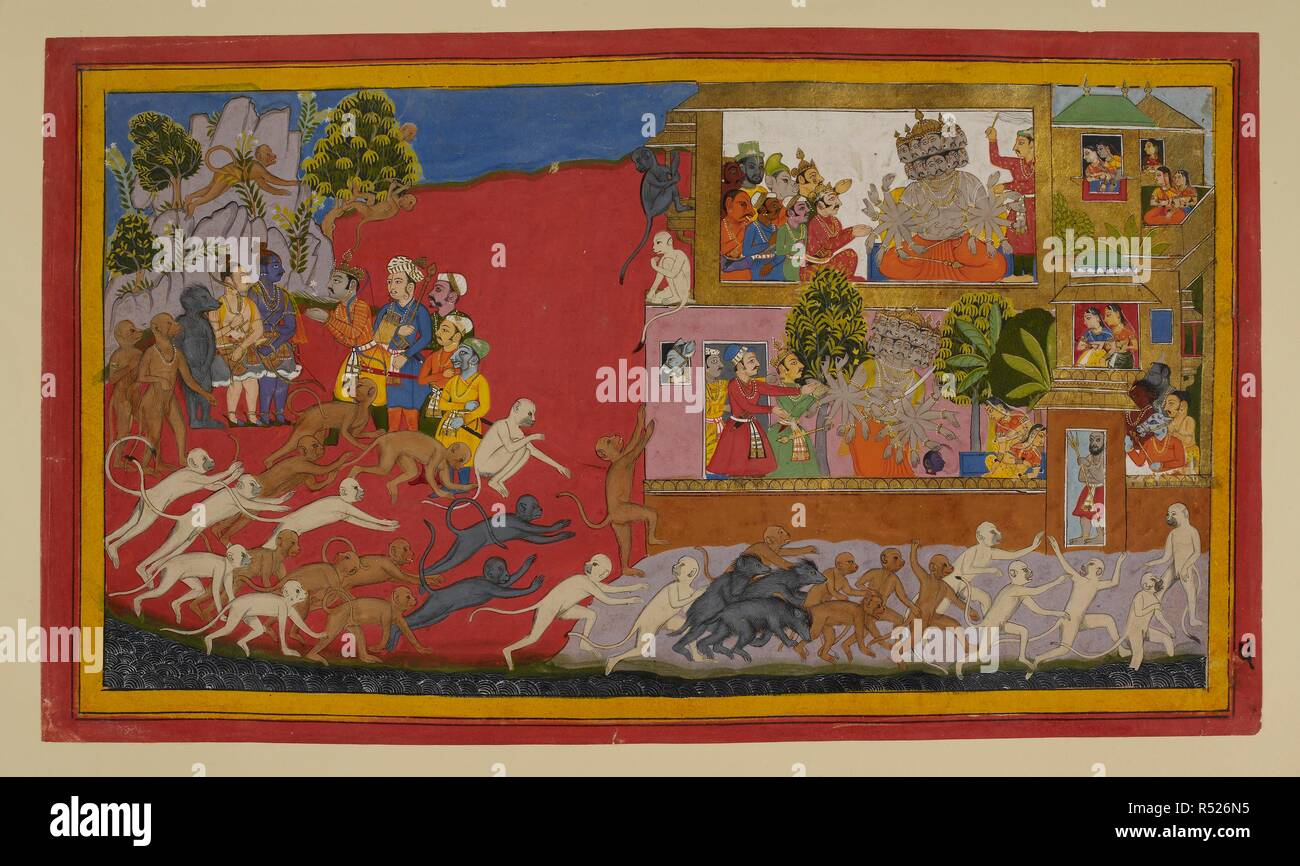 Rāma, Lakṣmaṇa and their allies remain in council on the left, while on the right Rāvaṇa listens as his spies tell him of their adventures. Rāvaṇa then goes to the aśoka grove with the magician Vidyujjihva carrying a false head of Rāma to deceive Sītā into thinking he is dead. She faints in horror. Women look down compassionately from terraces above. Meanwhile, monkeys are encircling the city under orders to find out its strengths and weaknesses. Ramayana. Source: Add. 15297(1), f.5. Language: Sanskrit. - Stock Image
