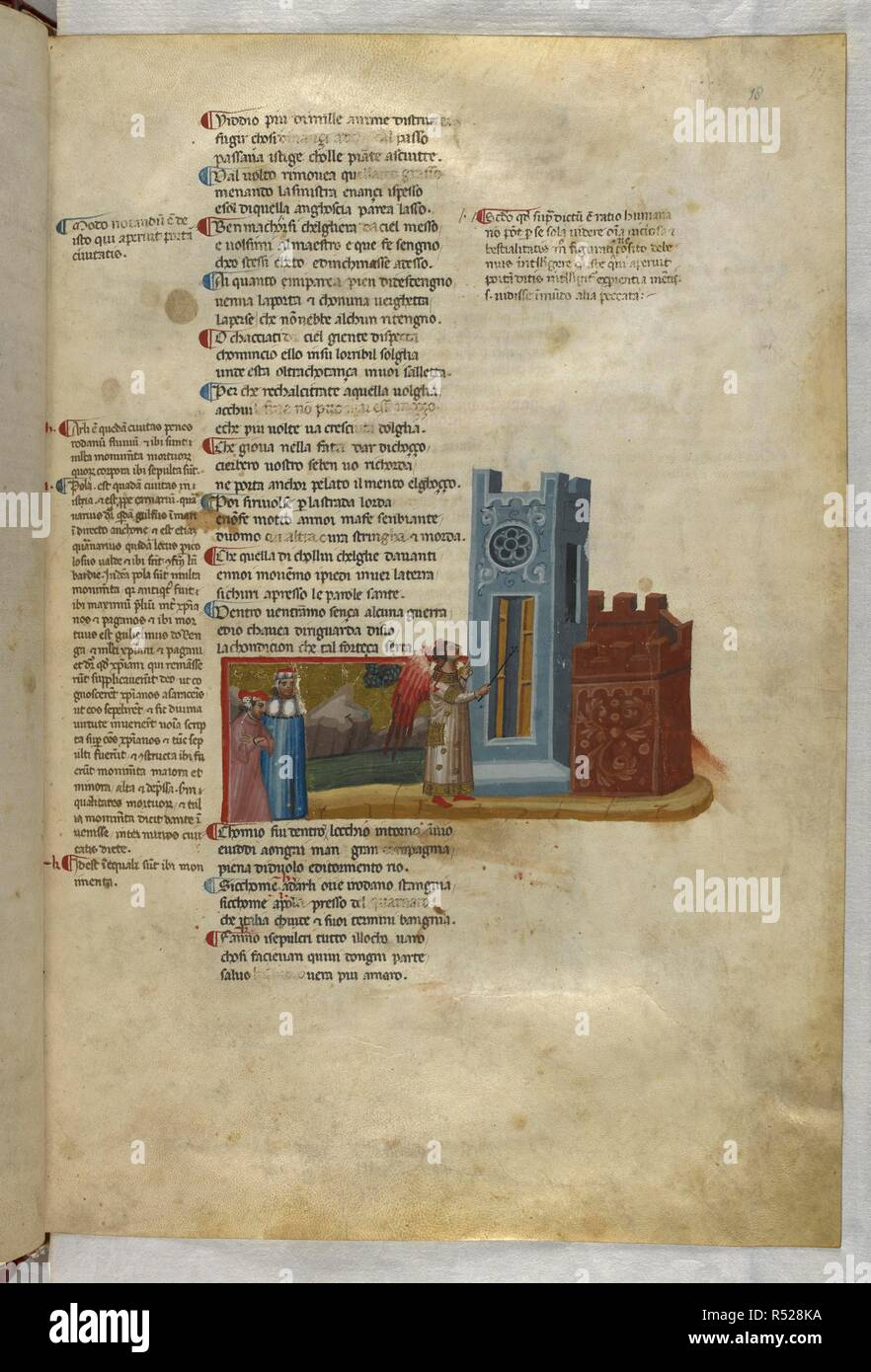 Inferno: He opens the gate of Dis. Dante Alighieri, Divina Commedia ( The Divine Comedy ), with a commentary in Latin. 1st half of the 14th century. Source: Egerton 943, f.18. Language: Italian, Latin. - Stock Image