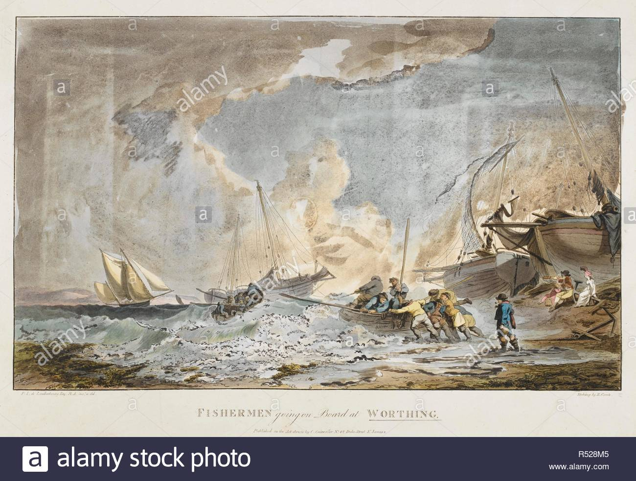 Fishermen boarding a small boat on a stormy sea; another boat of fishermen on the water; sailing boats in the distance; women and another figure with a telescope watching the scene from the beach; boats to the right-hand side. FISHERMEN going on Board at WORTHING. [London] : Published as the Act directs by C. Geisweiler No 42 Duke Street St James's, [around 1800]. Etching with hand-colouring. Source: Maps K.Top.42.72. Language: English. Author: Philippe-Jacques de Loutherbourg. Comte, B. - Stock Image
