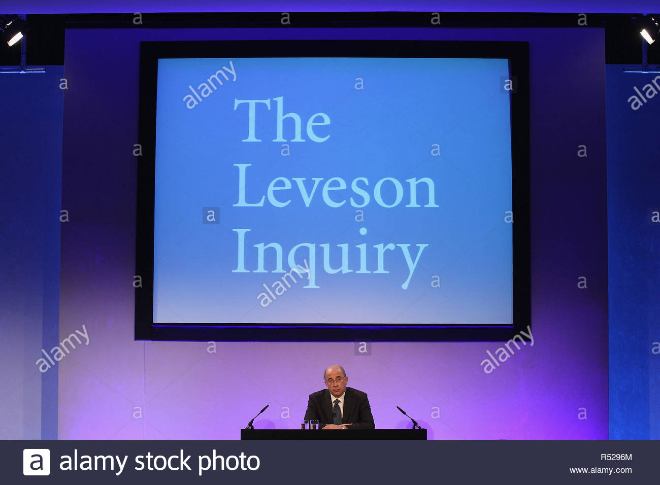 File photo dated 29/11/12 of Lord Justice Leveson. Victims of 'serious media intrusion' will find out if they have succeeded in their High Court action over the second part of the Leveson Inquiry. - Stock Image