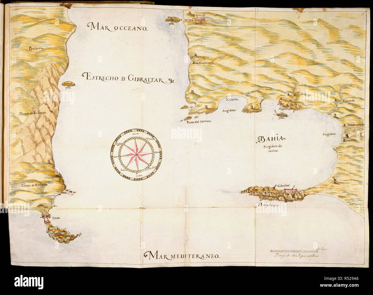 Map of Gibraltar. Gibraltar fortificada. Spain; 1627. (Whole map