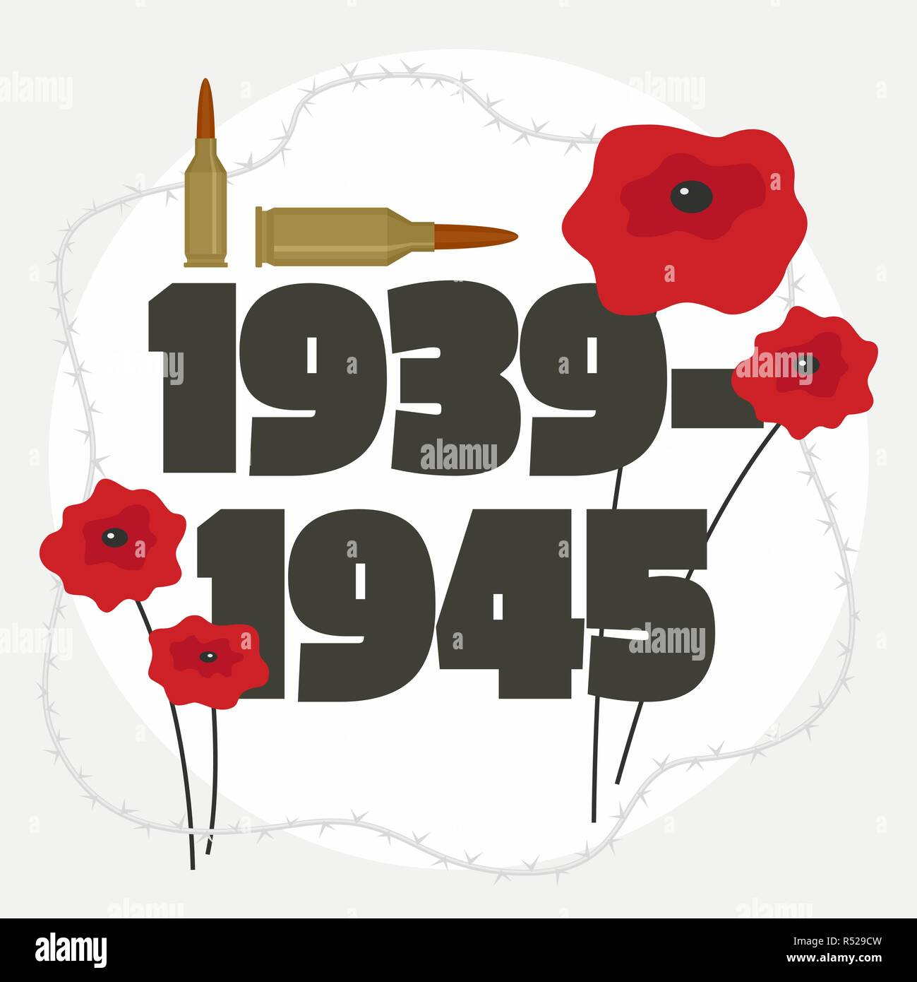 Second world war commemorative background. Flat illustration of second world war commemorative vector background for web design - Stock Vector