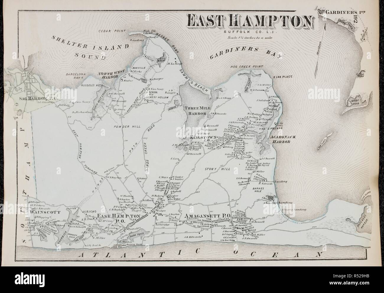 Map Of East Hampton On Long Island New York In The United States - Long-island-on-us-map