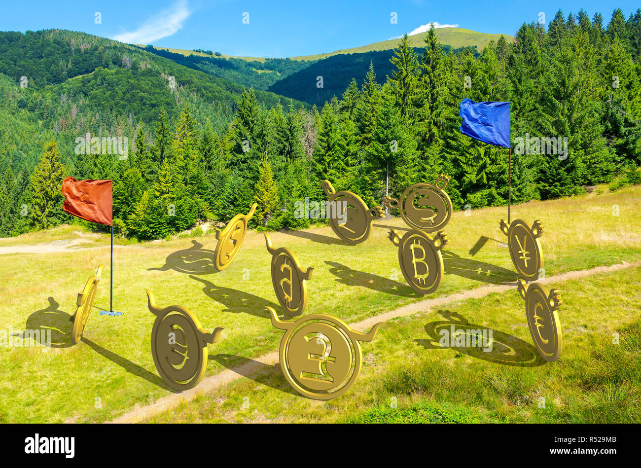 currency wars. bulls vs bears, bitcoin leading the team. battle on the hill near the forest. capture the flag concept. lovely summer landscape with mo - Stock Image