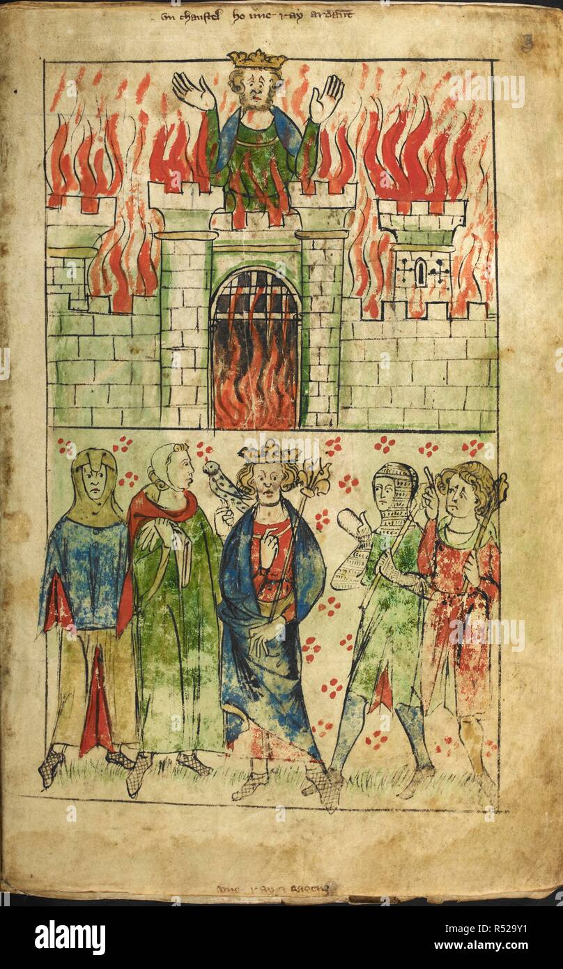 (Upper): 'Vn chaustel ho une ray ardaunt': death of Vortiger (Vortigern, Vortigen); the ruler burning to death in a castle tower. (Lower): 'Vne ray e sa genz': king standing with sceptre, and four courtiers, one with a hawk. Chronicle of England. England; circa 1307-1327. Source: Royal 20 A. II f.3. Language: Latin. Author: Langtoft, Peter de. - Stock Image