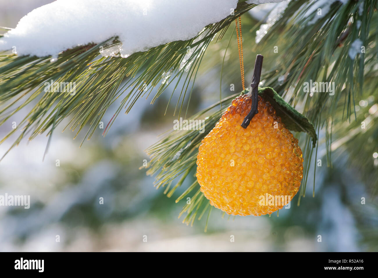 Winter Holiday Concept Decoration In The Form Of Pear In Orange
