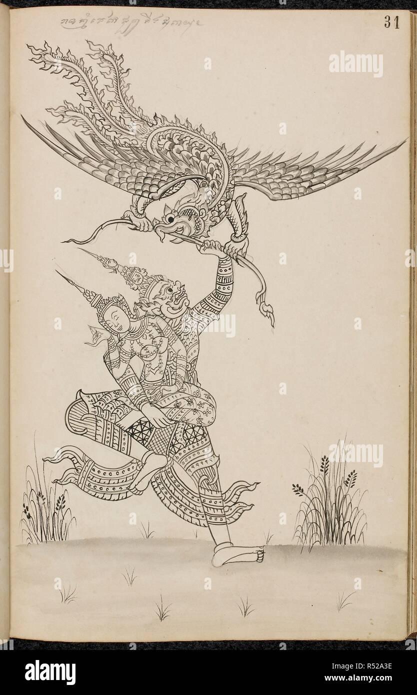 Ravana abducts sita scene from the ramakien thai version of the ramayana