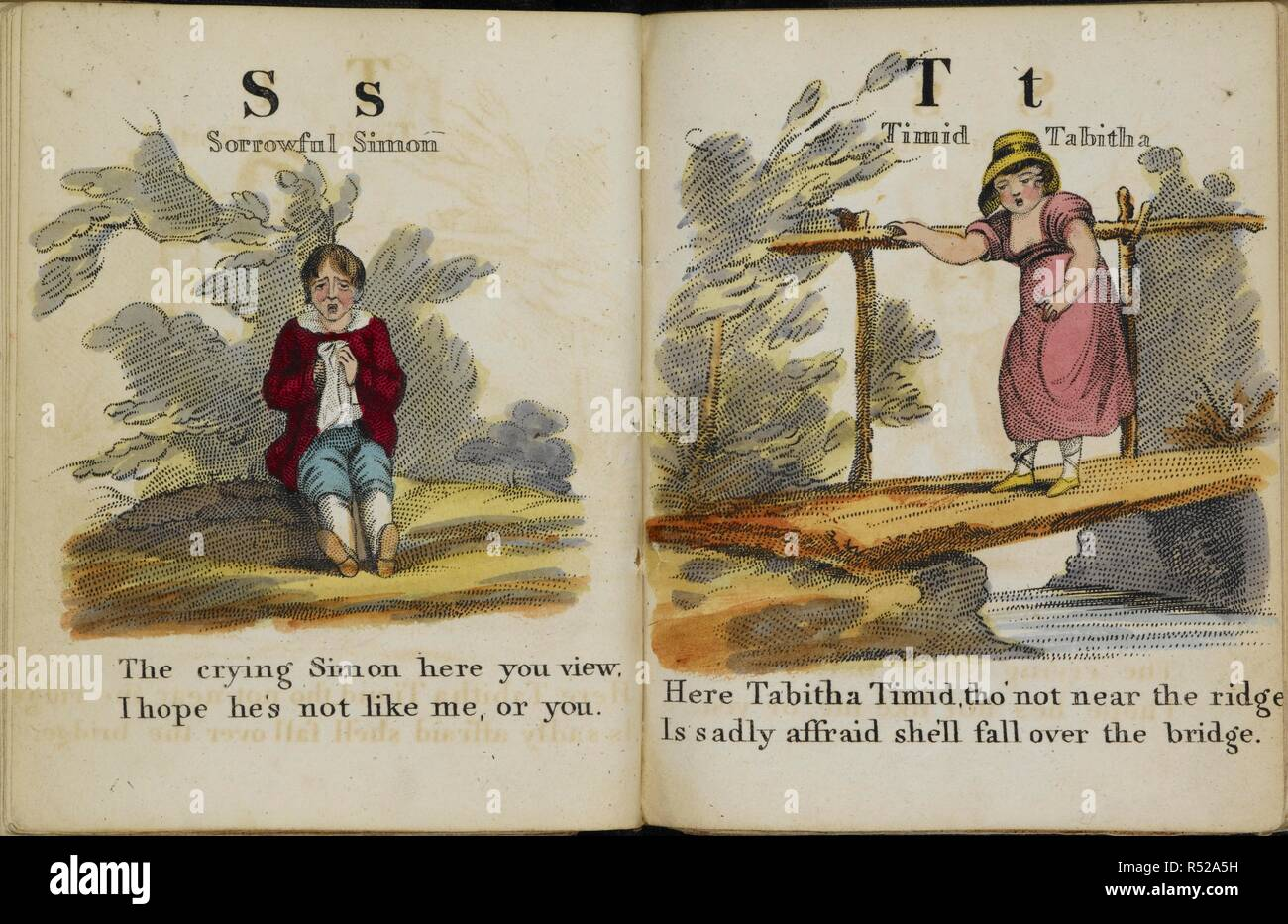 Illustrations in an alphabet book. 'S' represented by 'Sorrowful Simon'. 'T' represented by 'Timid Tabitha'. The History of Mother Twaddle, and the marvellous atchievements of her son Jack. By. B. A. T. London : J. Harris, 1807. Source: Ch.800/111.(1). - Stock Image