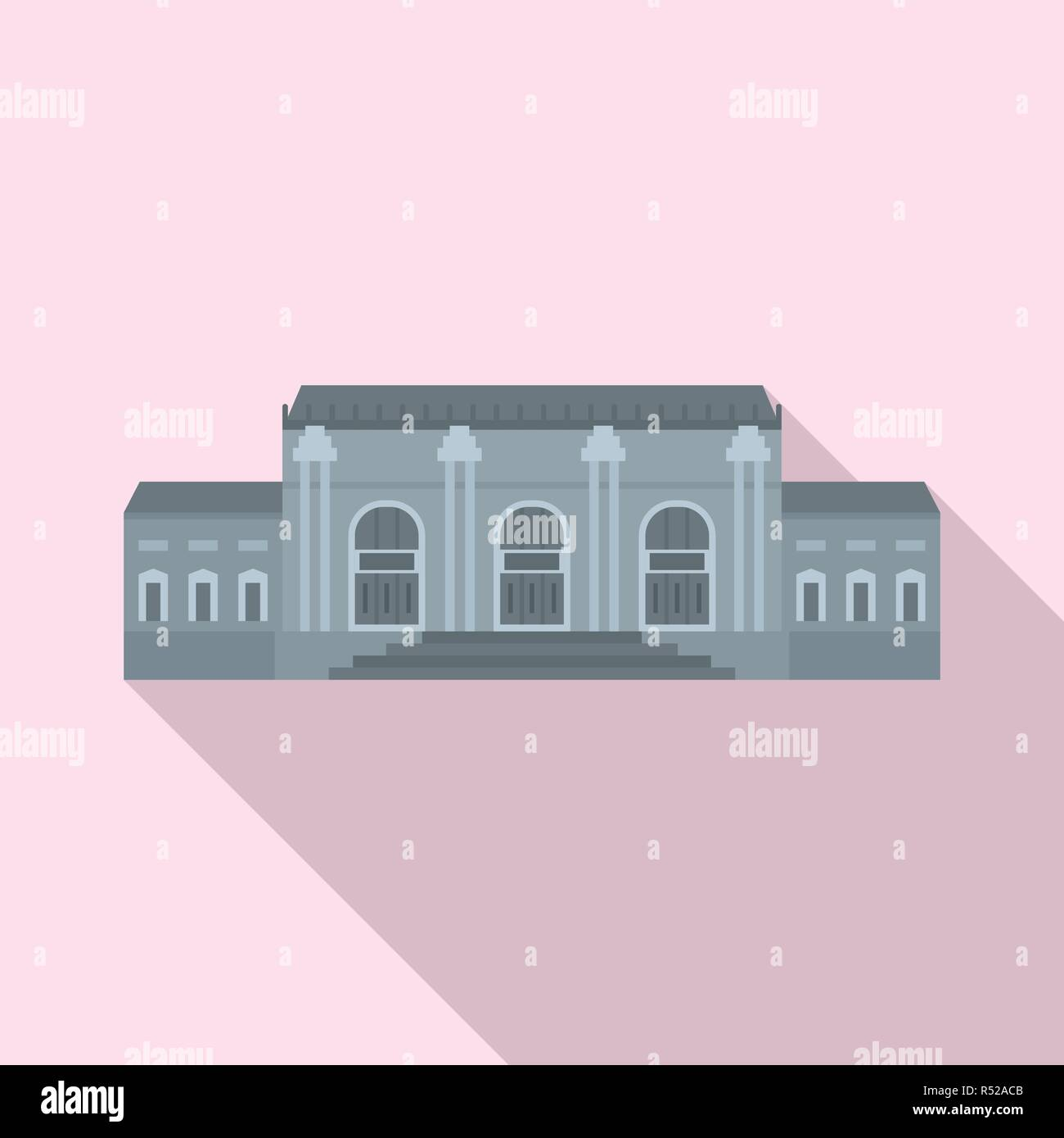 Grey facade historical building icon. Flat illustration of grey facade historical building vector icon for web design - Stock Vector