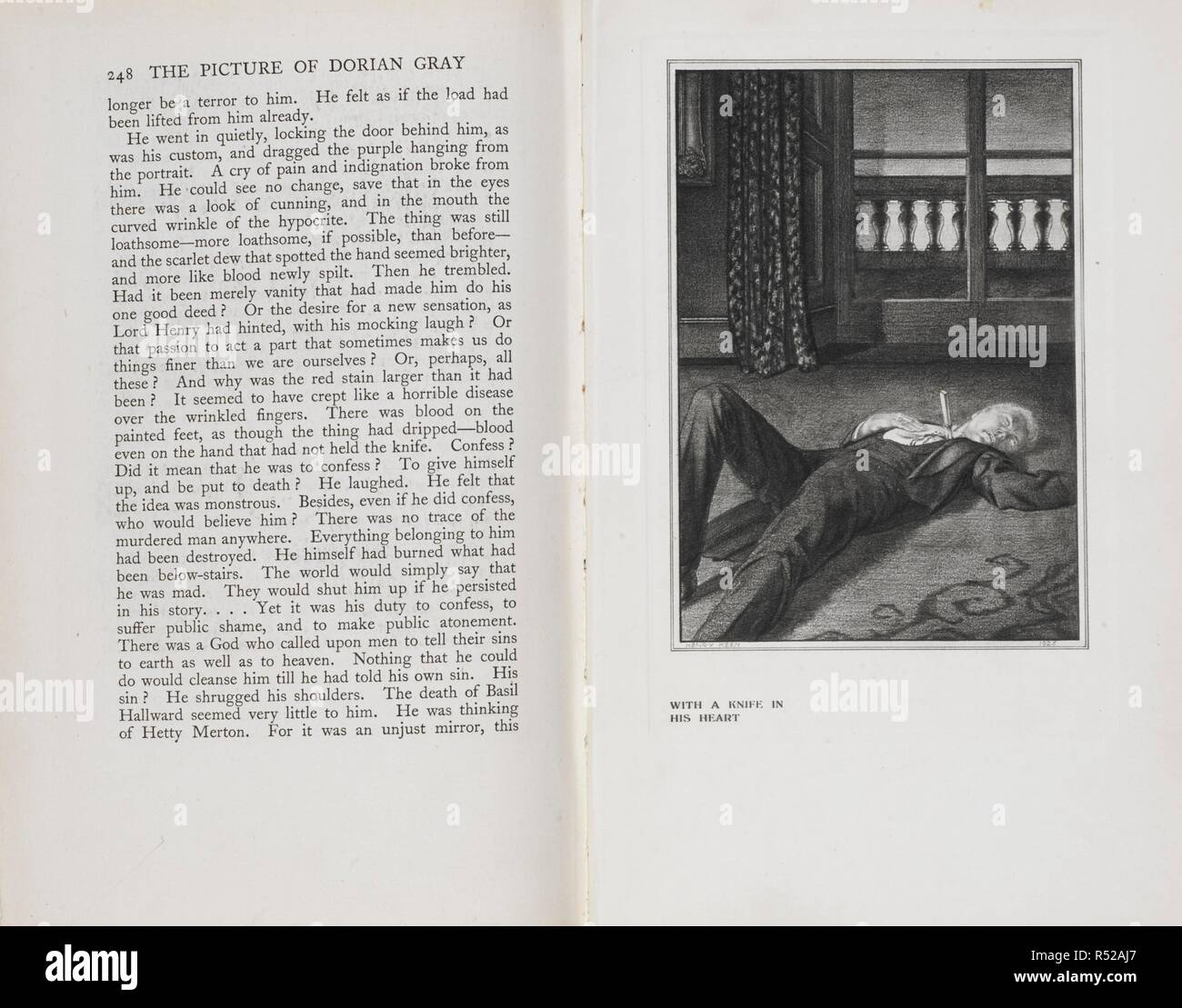 Page of the last chapter of the novel and an illustration showing the dead body of Dorian Gray. The Picture of Dorian Gray/ By Oscar Wilde ; with an introduction by Osbert Burdett ; authorized ed. with illustrations by Henry Keen. London: John Lane The Bodley Head; New York: Dodd, Mead and Co., 1925 Bungay, Suffolk: Richard Clay & Sons. Source: 012634.n.52 pages 248 and 249. - Stock Image