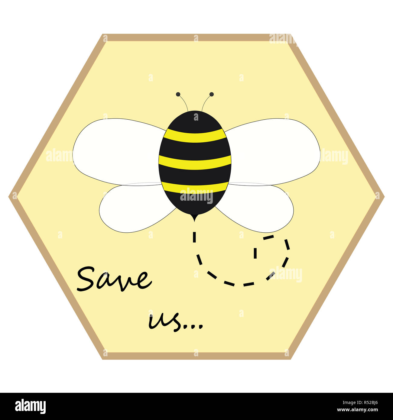 Bee in its hive promoting save the bees - Stock Image