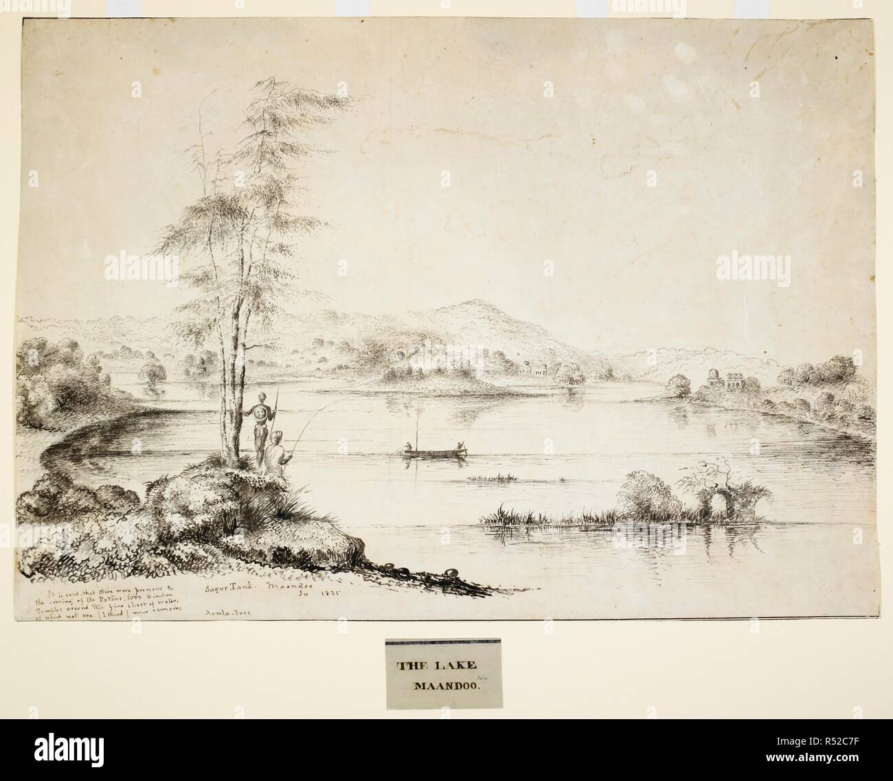 'Sagur Tank Maandoo. Ju. 1835. Aonla Tree. It is said that there were previous to the coming of the Patans, 1000 Hindoo Temples around this fine sheet of water, of which not one (I think) now remains'. 1835. pencil; ink. Source: WD 3416. Language: English. Author: ABOTT, JAMES. - Stock Image
