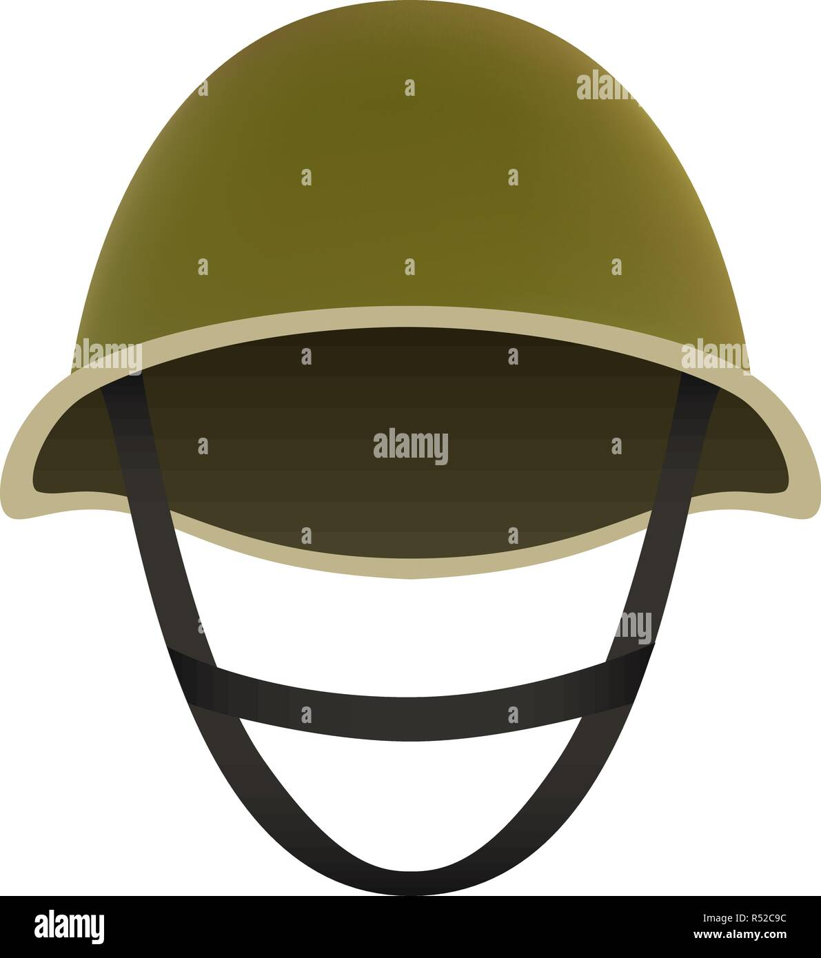 Front of camo helmet mockup. Realistic illustration of front of camo helmet vector mockup for web design isolated on white background - Stock Image