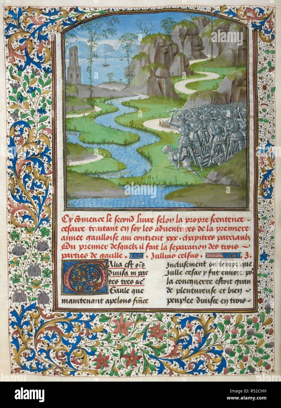 Caesar's army and the view of Gaul with rivers and lands bearing inscriptions: 'Belges', 'sayne et marne', 'Rin', 'Celtes', 'Geronde', 'acquitai[n]s' (Book 2); border of foliage and columbines. Caesar, translated by Jan Du Quesne (or Jean Duchesne), Bellum Gallicum ( Les commentaires de Cesar ). 1473-1476. Source: Royal 16 G. VIII, f.86v. Language: French. Author: JULIUS CAESAR. Du Quesne, Jehan. Master of the London Wavrin. - Stock Image