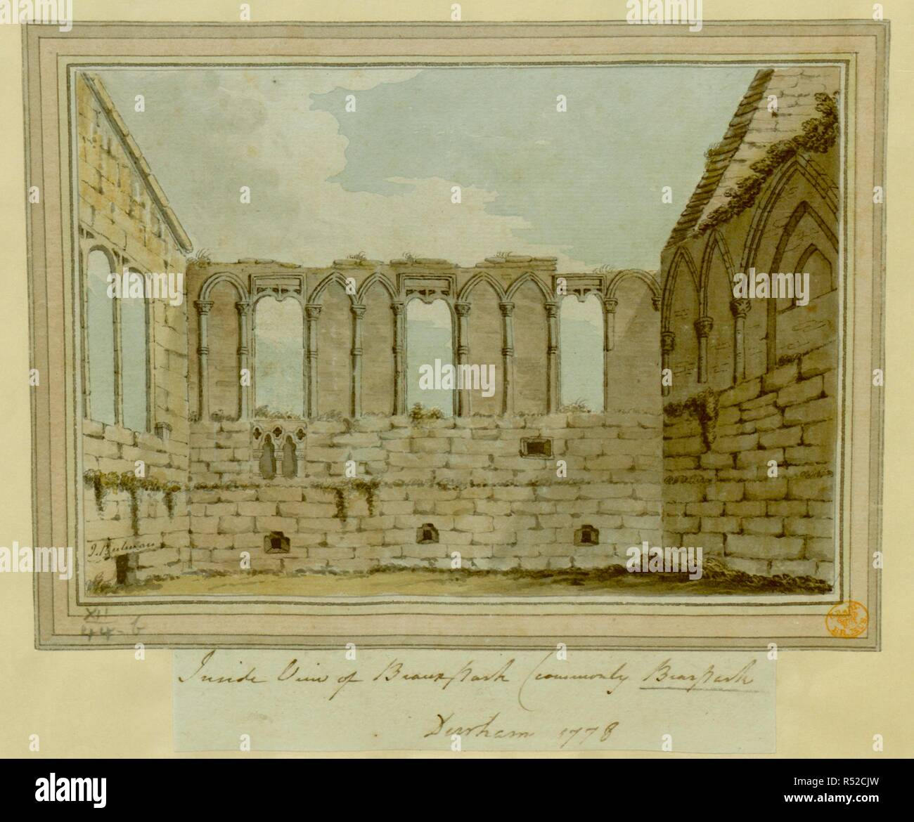 The inside view of the ruins of the chapel Beaurepaire or Bear Park near Durham. The Chapell at Bearpark near Durham 1783. 1783. Source: Maps K.Top.12.44.b. Language: English. Stock Photo