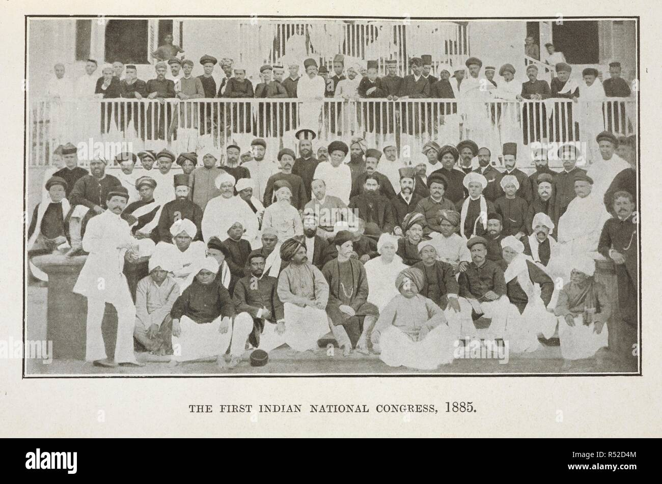 Group photograph of the delegates of the 1885 First Indian National Congress. Sir Pherozeshah Mehta. A political biography. [With a portrait.]. Bombay : Times Press, 1921. Source: T 10951, opposite page 178. Author: Mody, H. P. - Stock Image