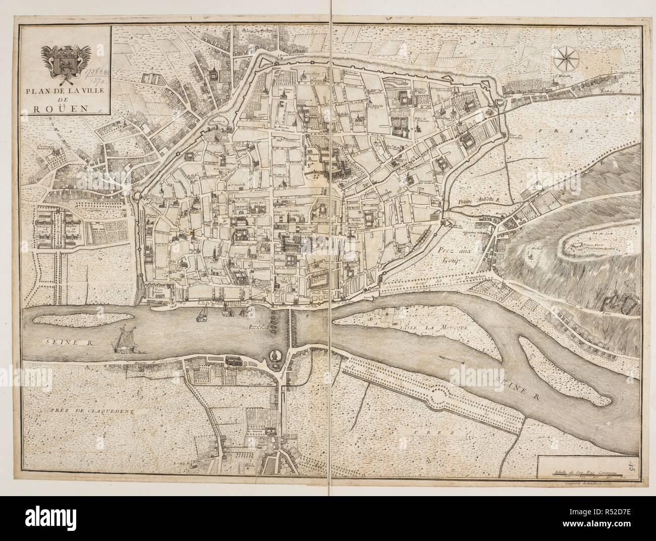 A map of Rouen. Plan de la Ville de Rouen ... G. de Baillieul sculp ...