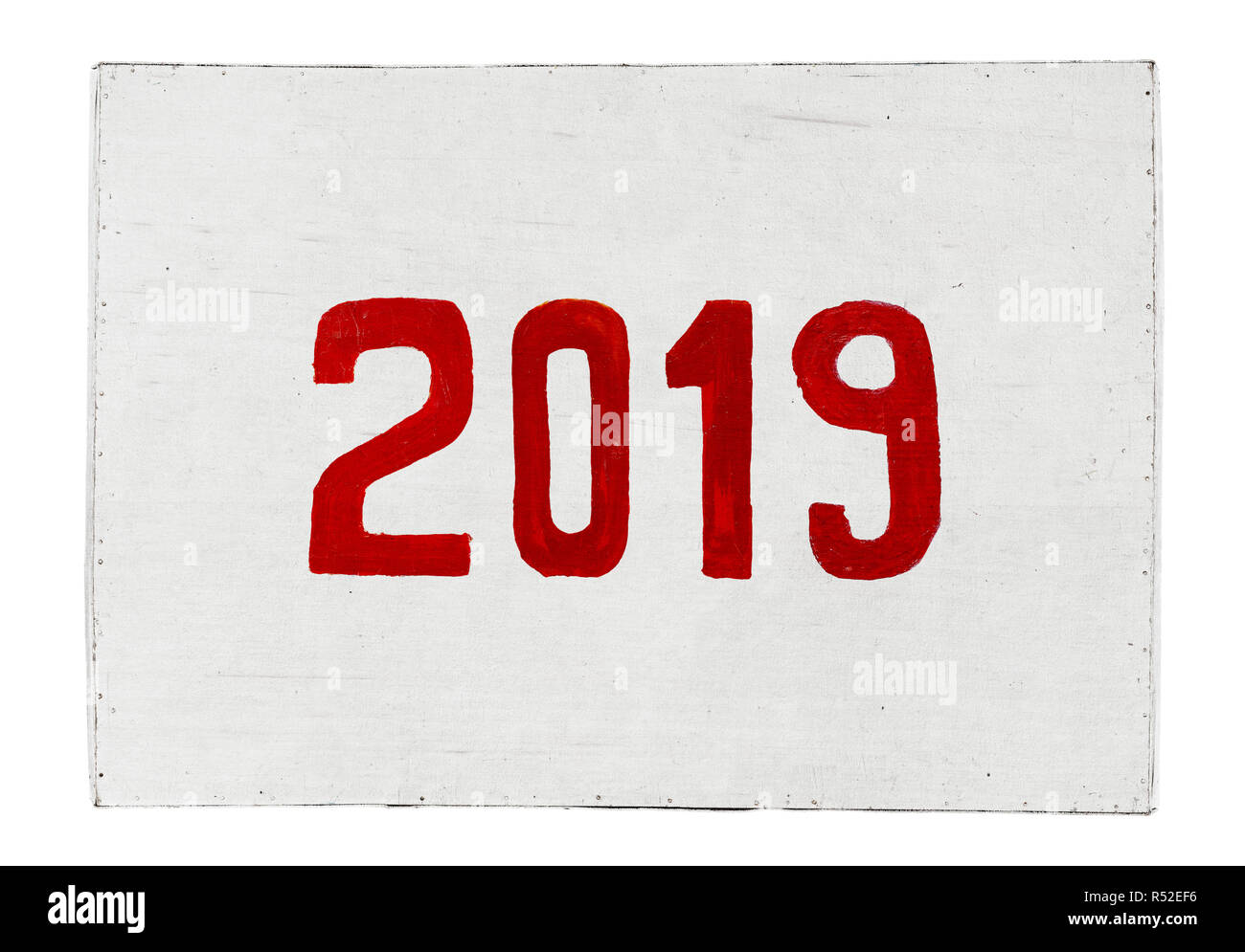 New year 2019 painted on plywood board. Year of the Pig Stock Photo