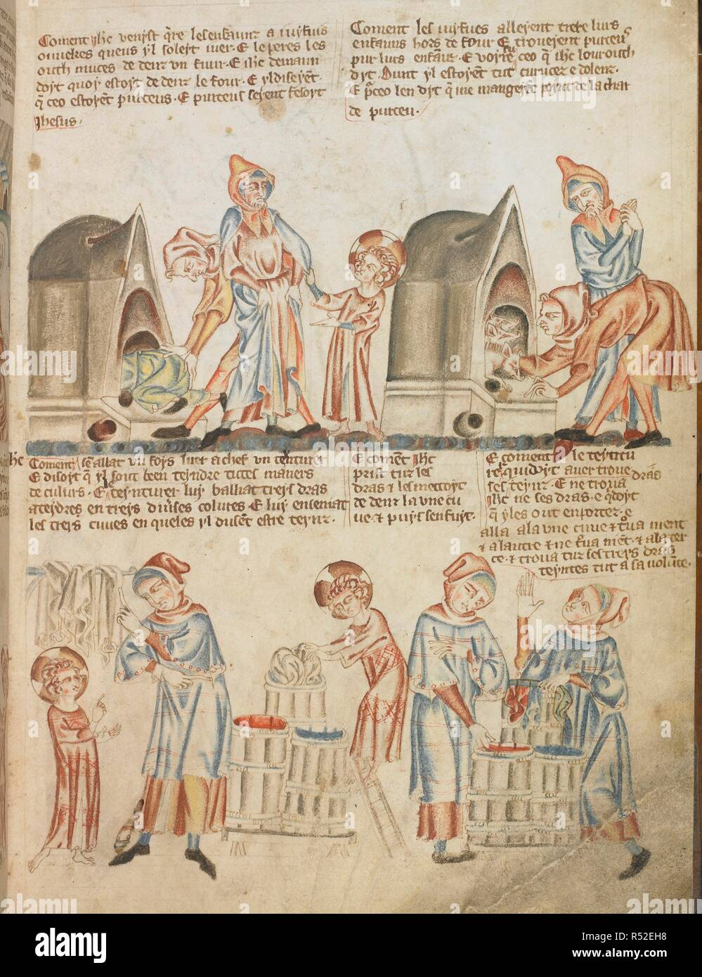 Two further miracles from Christ's childhood: children turned into pigs when they are hidden in an oven; Christ dyes cloth different colours. Holkham Bible Picture Book. England, circa 1320-1330. Source: Add. 47682, f.16. - Stock Image