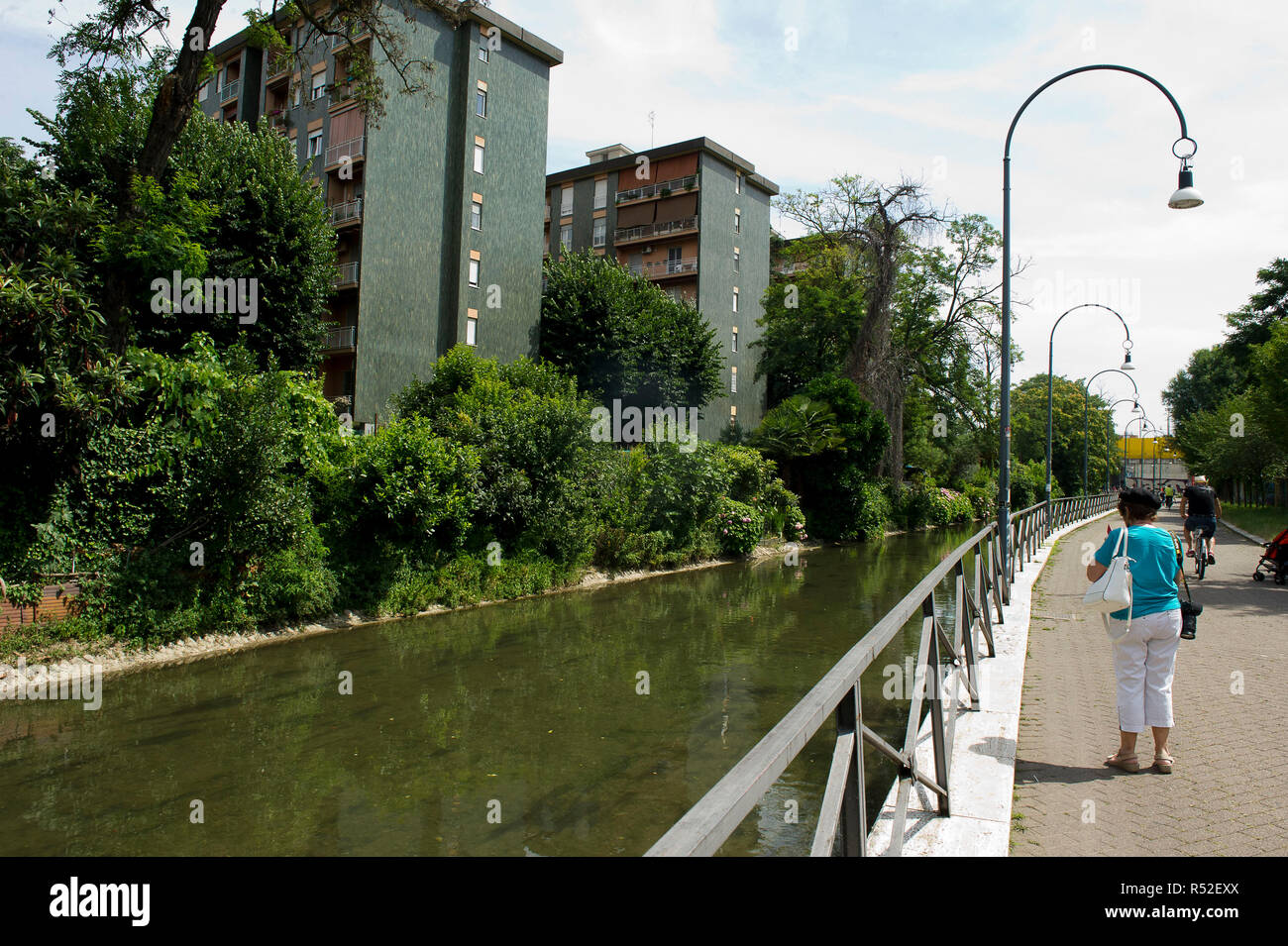 Italy, Lombardy, Milan, Martesana canal, connects the river Adda with Milan. Stock Photo