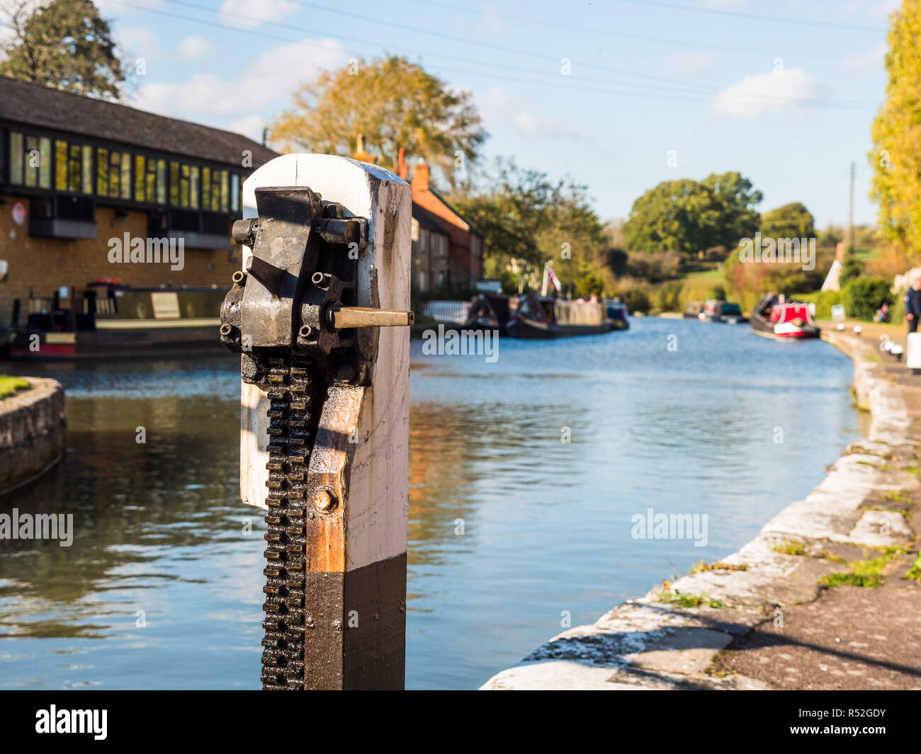 wide angle day view of boat canal in stoke bruerne england uk. - Stock Image