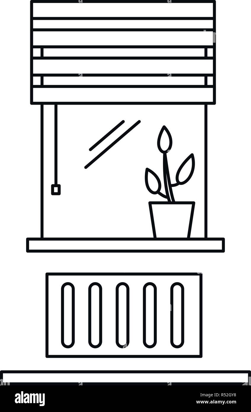 Living room window icon. Outline illustration of living room window vector icon for web design isolated on white background - Stock Vector
